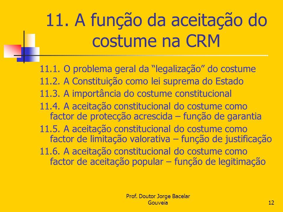 11. A função da aceitação do costume na CRM