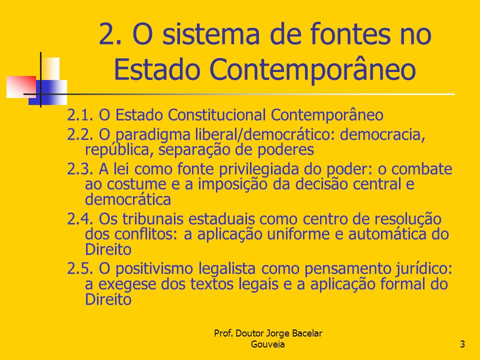 2. O sistema de fontes no Estado Contemporâneo