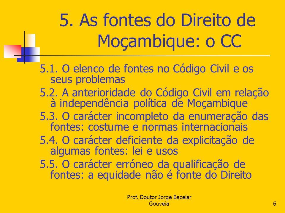 5. As fontes do Direito de Moçambique: o CC
