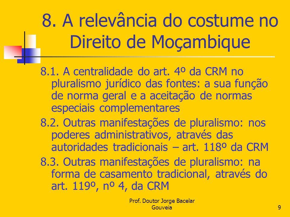 8. A relevância do costume no Direito de Moçambique