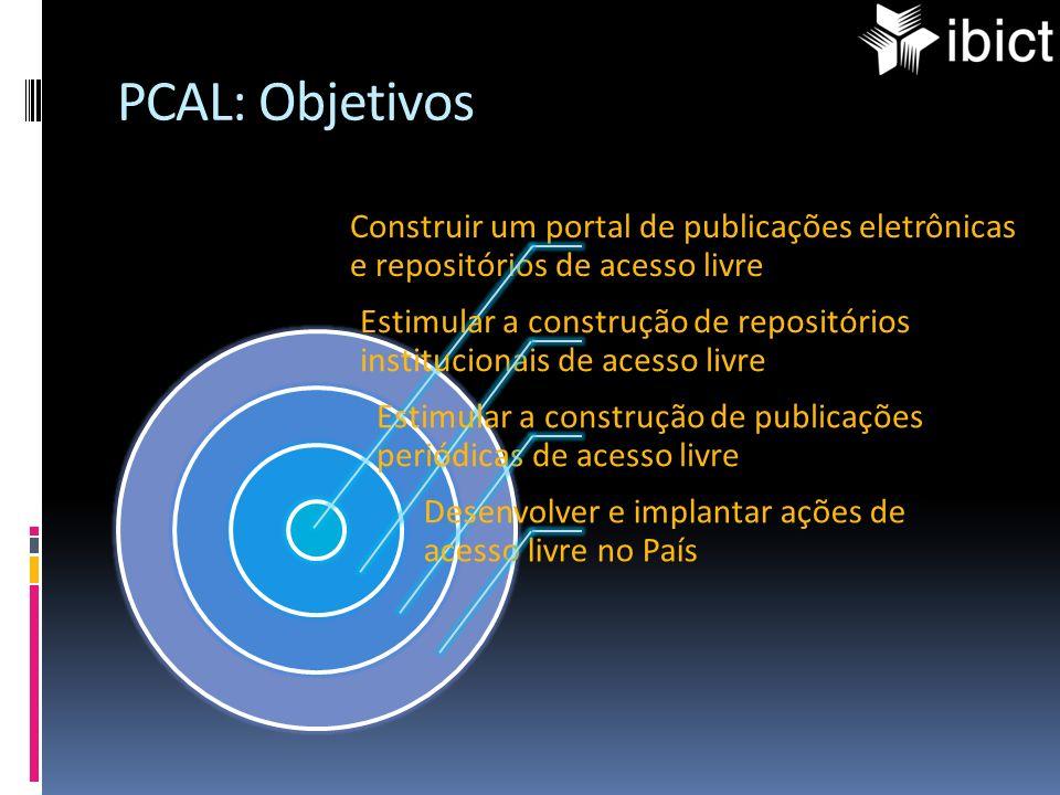 PCAL: Objetivos Construir um portal de publicações eletrônicas e repositórios de acesso livre.