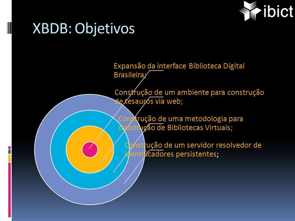 XBDB: Objetivos Expansão da interface Biblioteca Digital Brasileira; Construção de um ambiente para construção de tesauros via web;