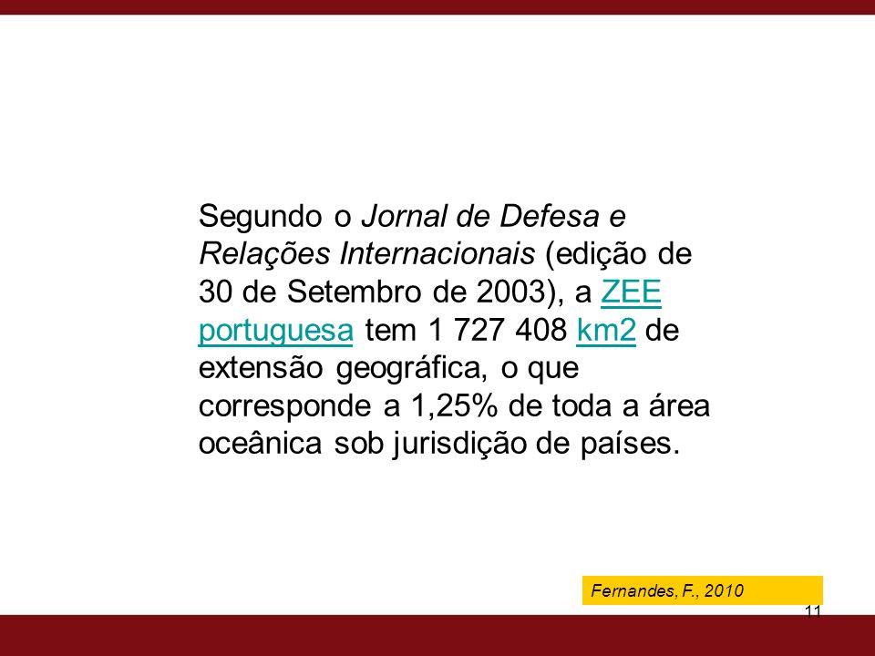 Segundo o Jornal de Defesa e Relações Internacionais (edição de 30 de Setembro de 2003), a ZEE portuguesa tem 1 727 408 km2 de extensão geográfica, o que corresponde a 1,25% de toda a área oceânica sob jurisdição de países.