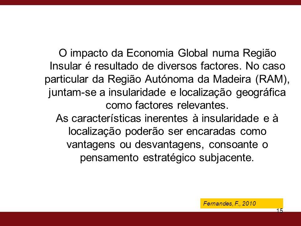 O impacto da Economia Global numa Região Insular é resultado de diversos factores. No caso particular da Região Autónoma da Madeira (RAM), juntam-se a insularidade e localização geográfica como factores relevantes. As características inerentes à insularidade e à localização poderão ser encaradas como vantagens ou desvantagens, consoante o pensamento estratégico subjacente.
