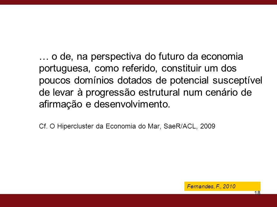 … o de, na perspectiva do futuro da economia portuguesa, como referido, constituir um dos poucos domínios dotados de potencial susceptível de levar à progressão estrutural num cenário de afirmação e desenvolvimento. Cf. O Hipercluster da Economia do Mar, SaeR/ACL, 2009