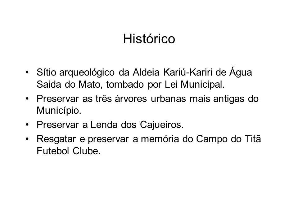 Histórico Sítio arqueológico da Aldeia Kariú-Kariri de Água Saida do Mato, tombado por Lei Municipal.