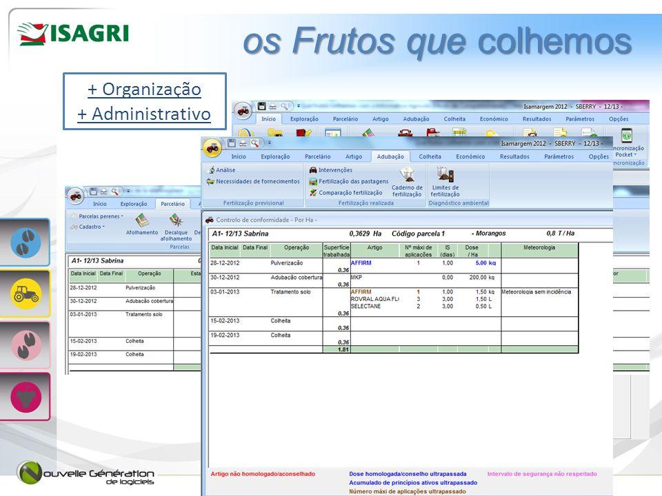 os Frutos que colhemos + Organização + Administrativo