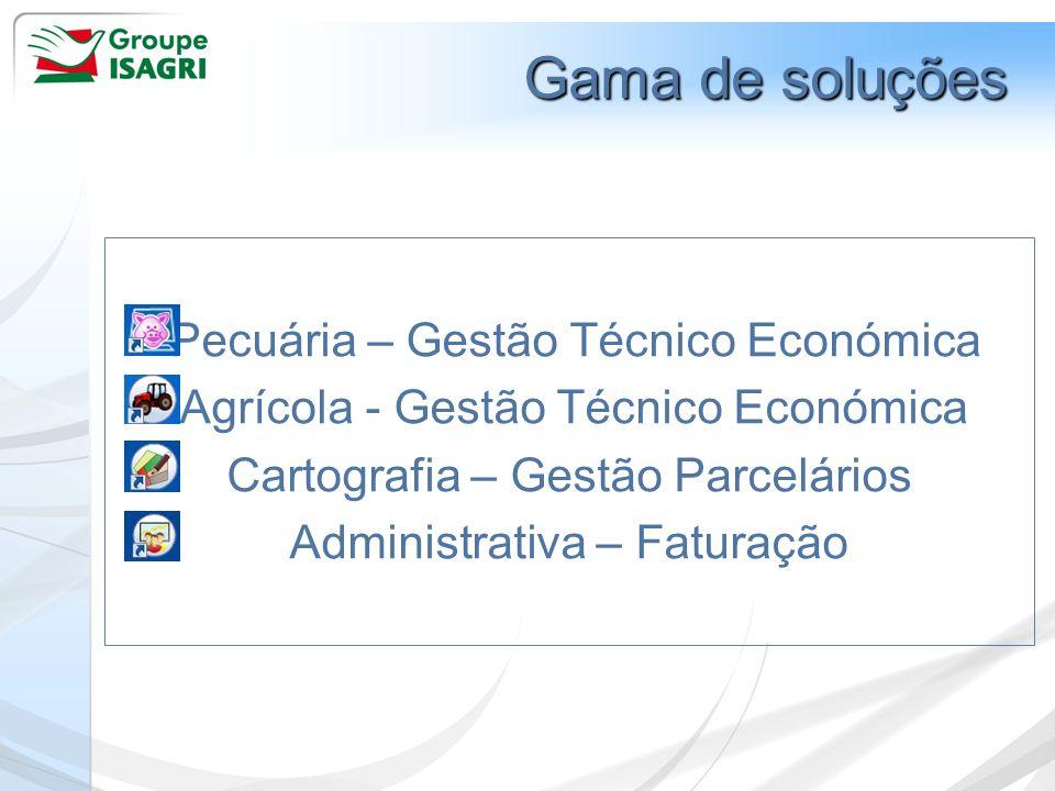 Gama de soluçõesPecuária – Gestão Técnico Económica Agrícola - Gestão Técnico Económica Cartografia – Gestão Parcelários Administrativa – Faturação