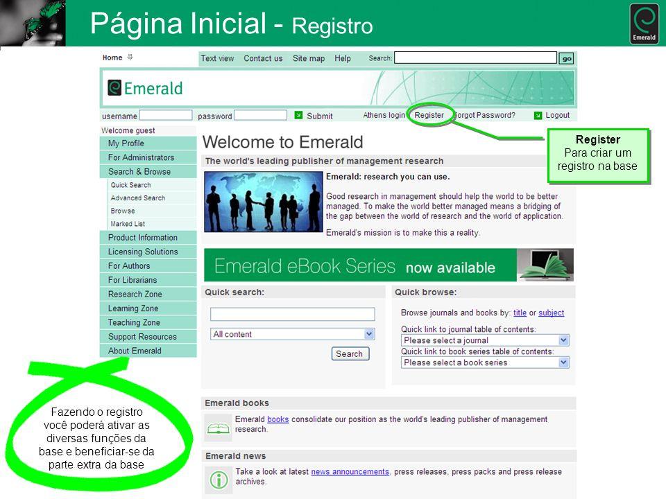 Página Inicial - Registro