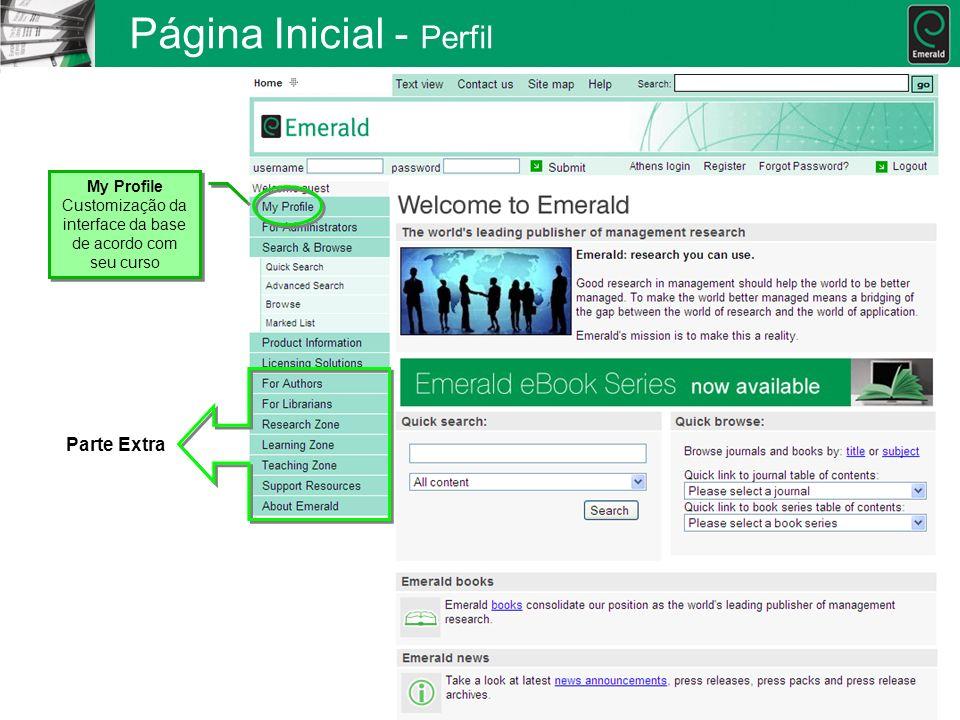 Página Inicial - Perfil