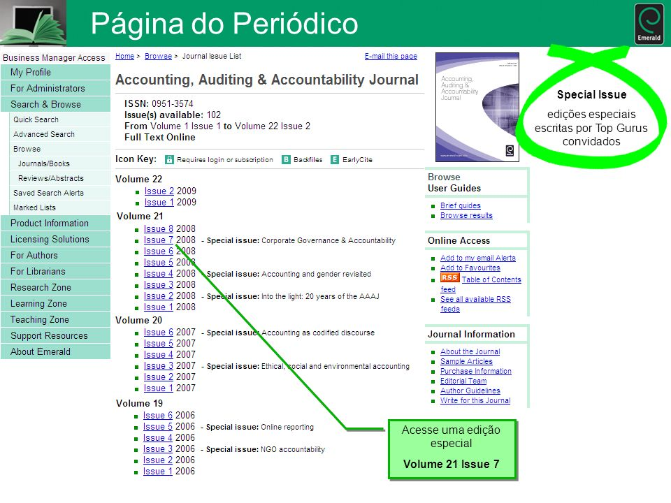 Página do Periódico Special Issue