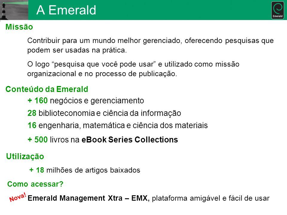 A Emerald Missão Conteúdo da Emerald + 160 negócios e gerenciamento