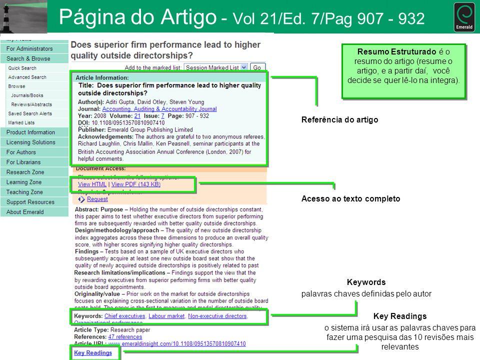 Página do Artigo - Vol 21/Ed. 7/Pag 907 - 932