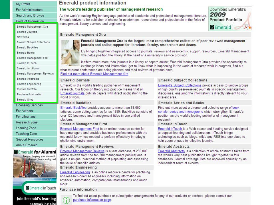 Conteudo da Emerald The Emerald portfolio