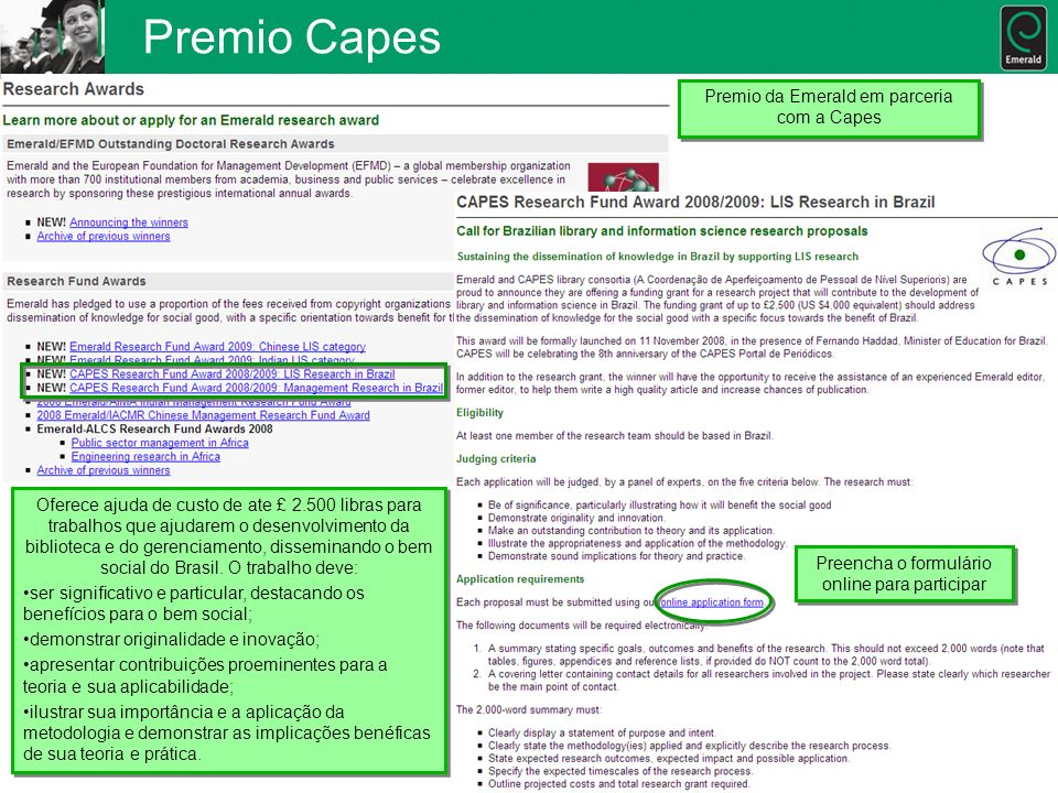 Premio Capes Premio da Emerald em parceria com a Capes