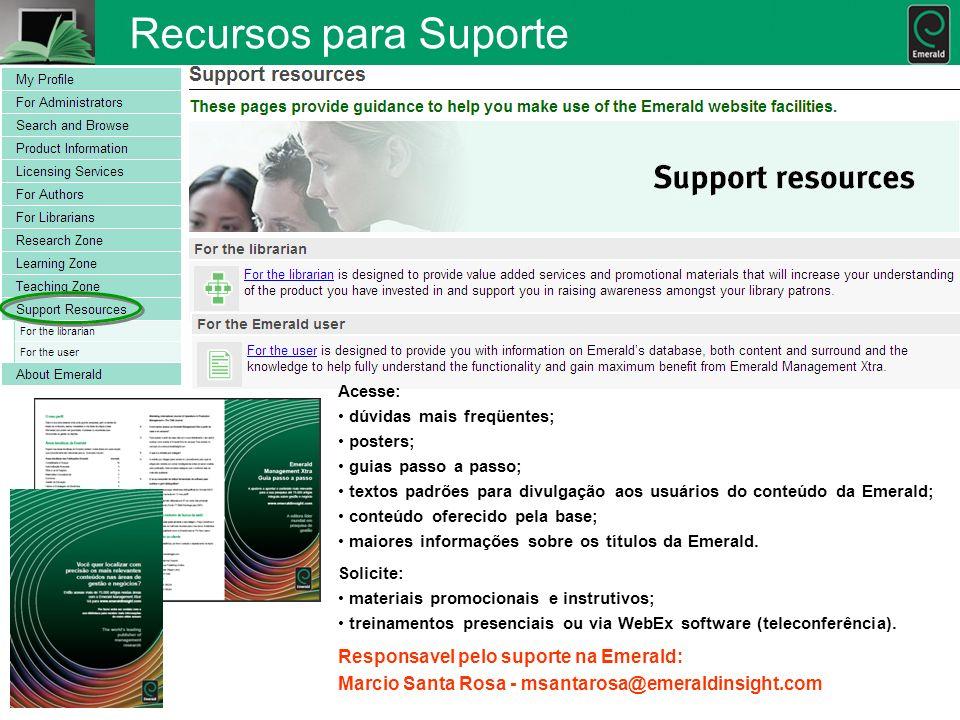 Recursos para Suporte Responsavel pelo suporte na Emerald:
