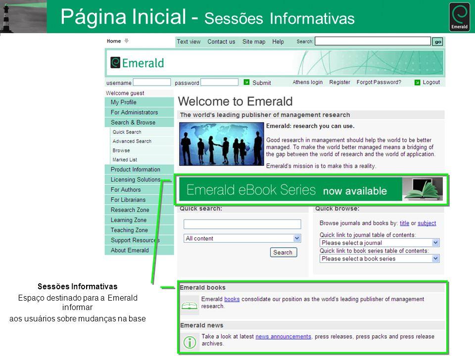 Página Inicial - Sessões Informativas