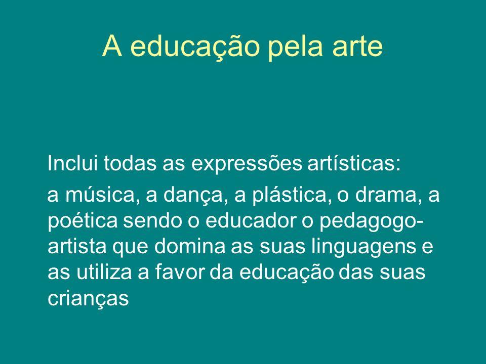 A educação pela arte Inclui todas as expressões artísticas: