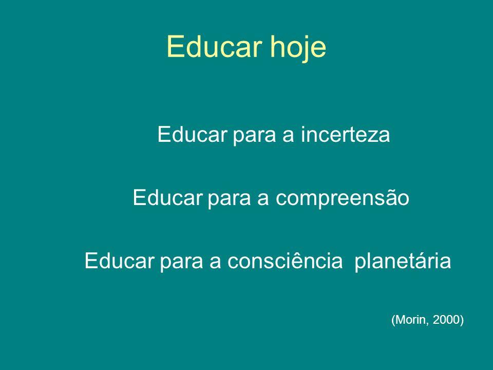Educar hoje Educar para a incerteza Educar para a compreensão