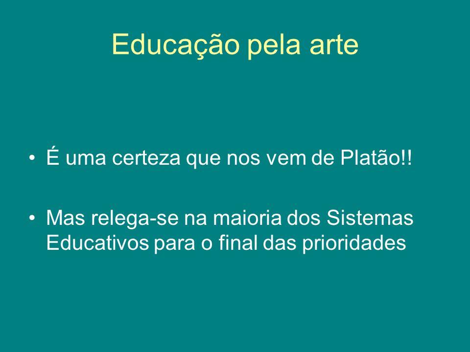 Educação pela arte É uma certeza que nos vem de Platão!!