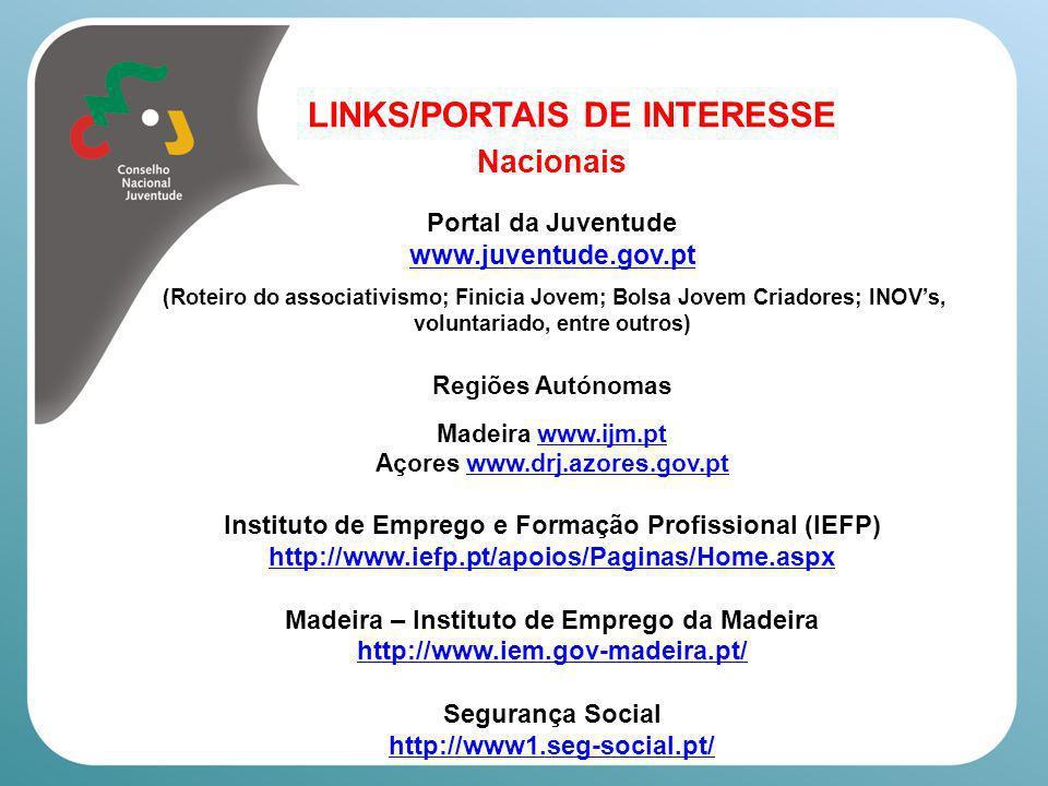 Nacionais LINKS/PORTAIS DE INTERESSE www.juventude.gov.pt