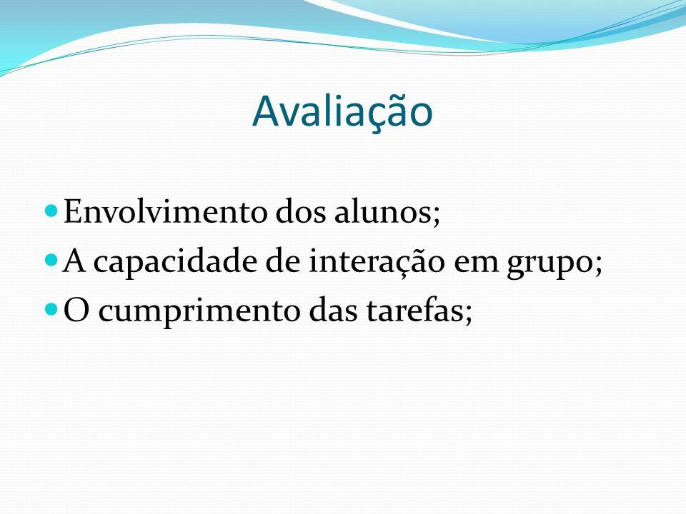 Avaliação Envolvimento dos alunos; A capacidade de interação em grupo;