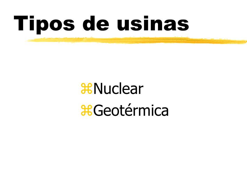Tipos de usinas Nuclear Geotérmica