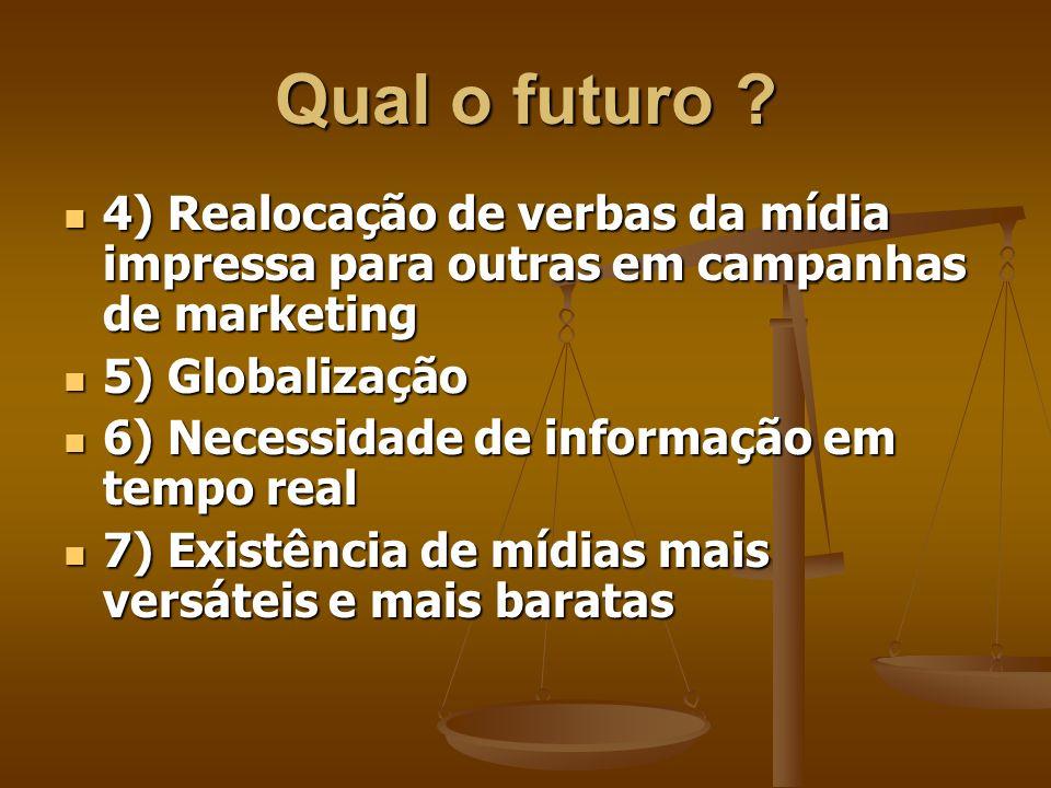 Qual o futuro 4) Realocação de verbas da mídia impressa para outras em campanhas de marketing. 5) Globalização.