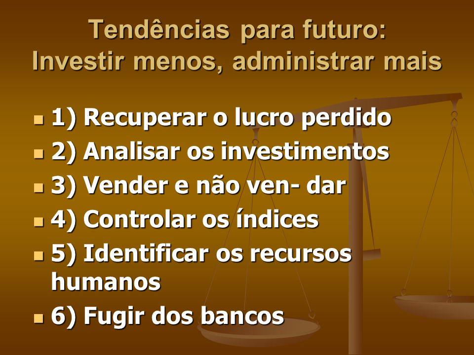 Tendências para futuro: Investir menos, administrar mais