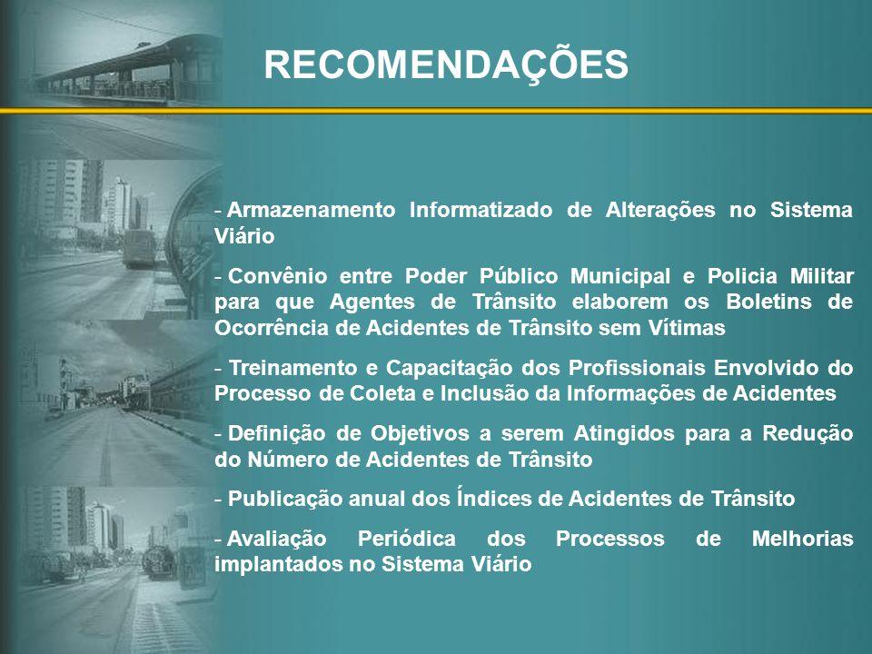 RECOMENDAÇÕES Armazenamento Informatizado de Alterações no Sistema Viário.