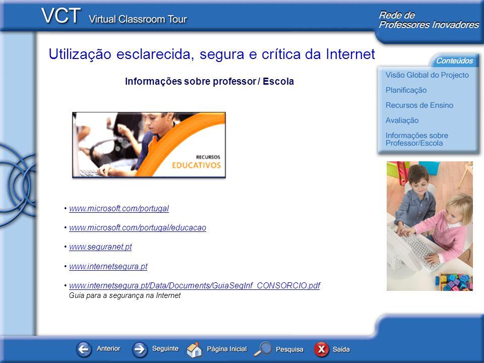 Informações sobre professor / Escola