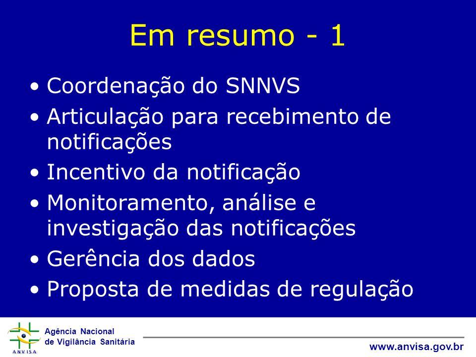 Em resumo - 1 Coordenação do SNNVS