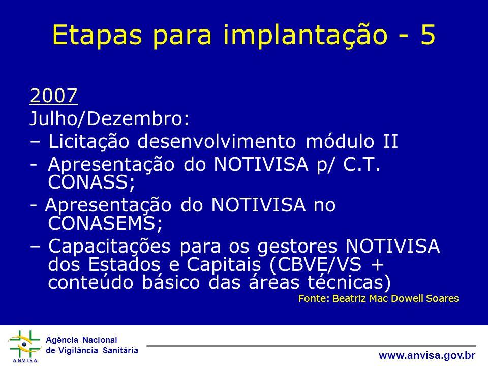 Etapas para implantação - 5