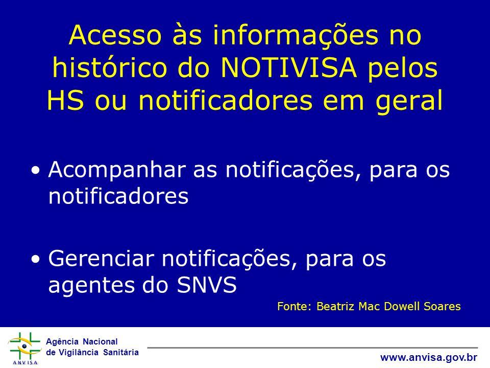 Acesso às informações no histórico do NOTIVISA pelos HS ou notificadores em geral