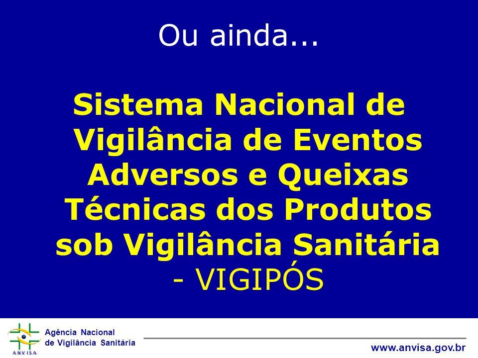 Ou ainda...Sistema Nacional de Vigilância de Eventos Adversos e Queixas Técnicas dos Produtos sob Vigilância Sanitária - VIGIPÓS.