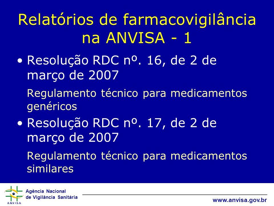 Relatórios de farmacovigilância na ANVISA - 1