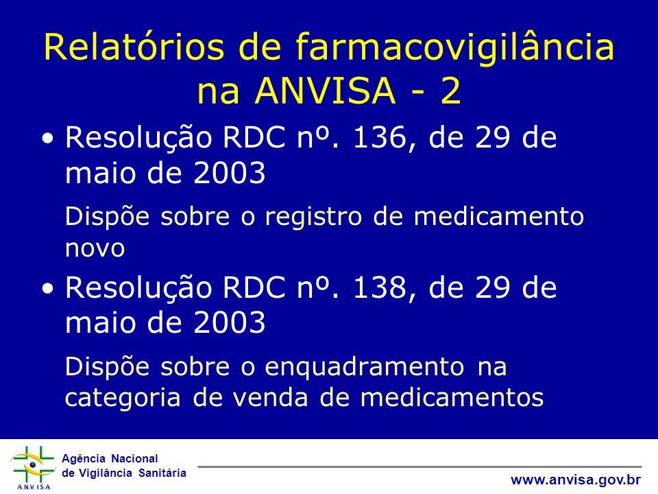 Relatórios de farmacovigilância na ANVISA - 2