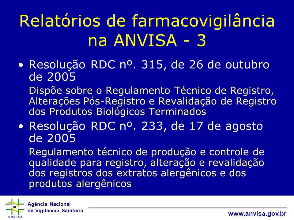 Relatórios de farmacovigilância na ANVISA - 3