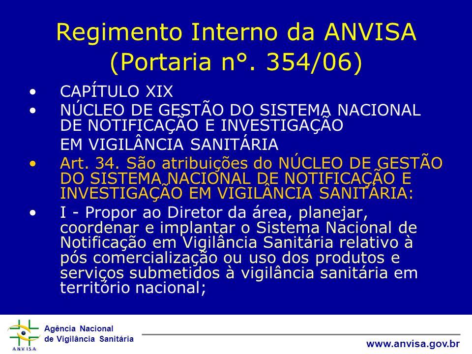 Regimento Interno da ANVISA (Portaria n°. 354/06)