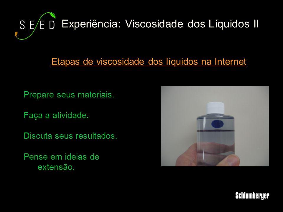 Experiência: Viscosidade dos Líquidos II