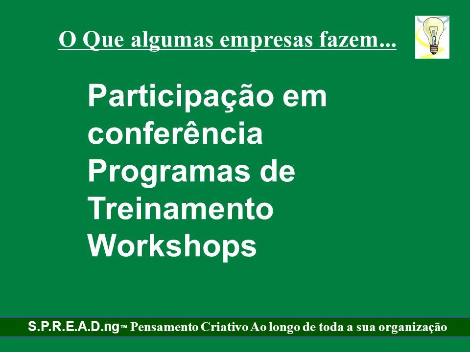 Participação em conferência Programas de Treinamento Workshops