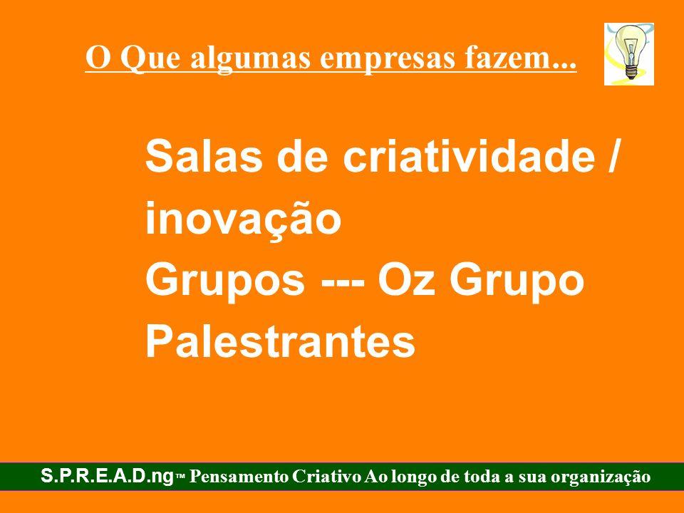 Salas de criatividade / inovação Grupos --- Oz Grupo Palestrantes