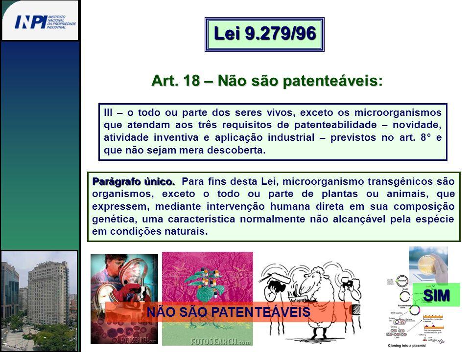 Lei 9.279/96 Art. 18 – Não são patenteáveis: SIM NÃO SÃO PATENTEÁVEIS