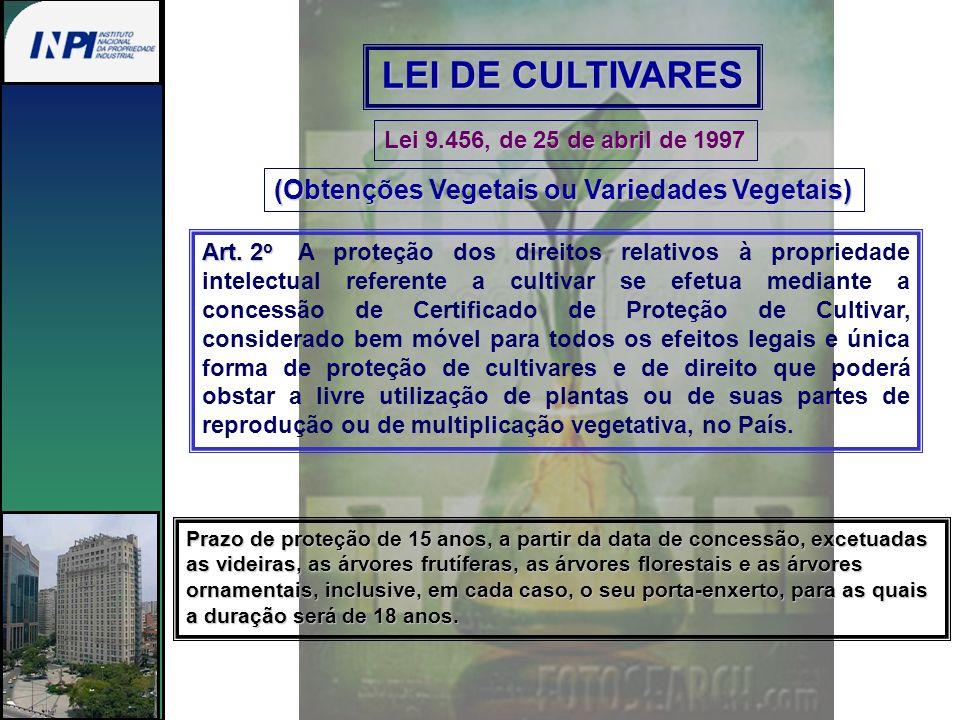 LEI DE CULTIVARES (Obtenções Vegetais ou Variedades Vegetais)