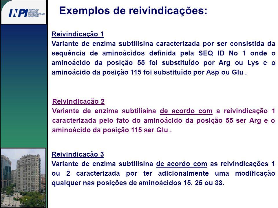 Exemplos de reivindicações: