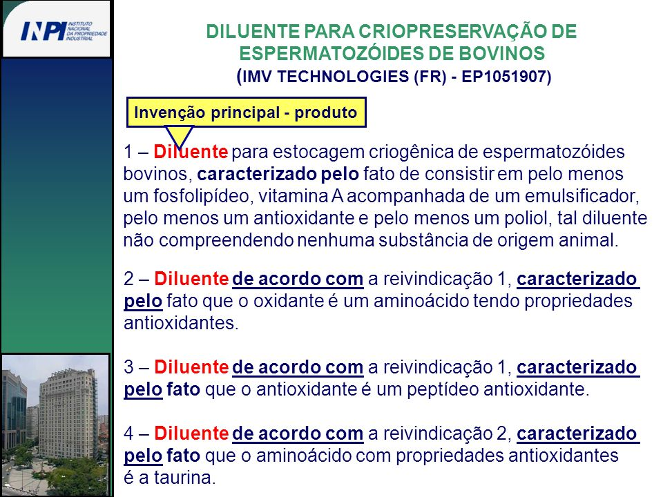 DILUENTE PARA CRIOPRESERVAÇÃO DE ESPERMATOZÓIDES DE BOVINOS