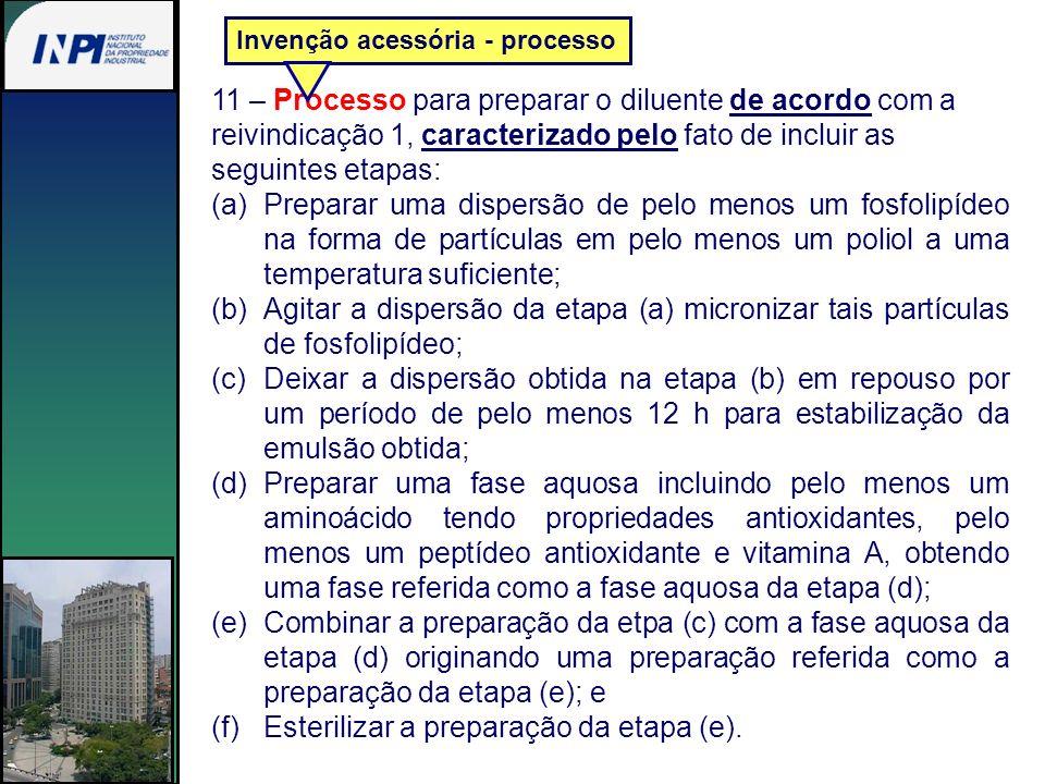11 – Processo para preparar o diluente de acordo com a