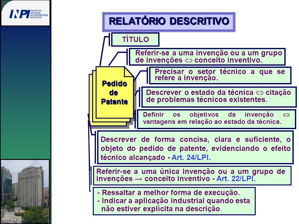 RELATÓRIO DESCRITIVO TÍTULO Referir-se a uma invenção ou a um grupo