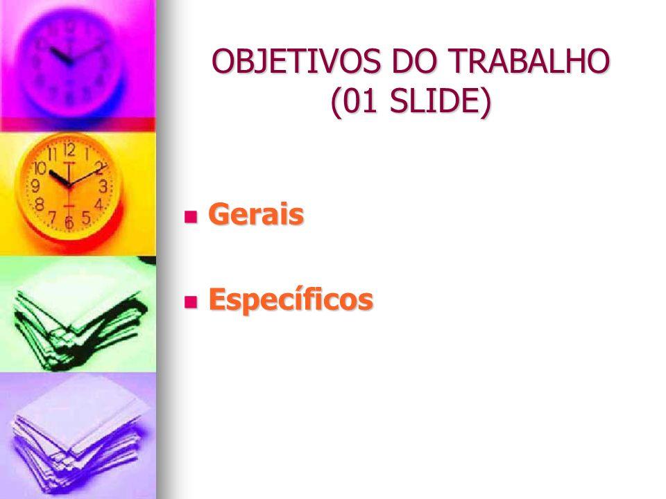 OBJETIVOS DO TRABALHO (01 SLIDE)