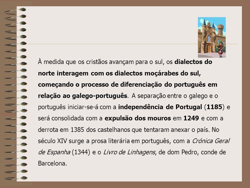 À medida que os cristãos avançam para o sul, os dialectos do norte interagem com os dialectos moçárabes do sul, começando o processo de diferenciação do português em relação ao galego-português.